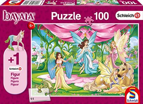 Schmidt Spiele Puzzle 56301 Schleich, Kronsaal von Bayala, 100 Teile Kinderpuzzle, Figur Surahs Federfohlen, bunt