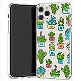 Lex Altern TPU Coque pour iPhone Apple 11 Pro XS Max XR 8 X 7 Plus 6s 5 Léger Transparente Cactus Kawaii Plantes d'intérieur Enfant Motif Doux Étui Vertes Souple Fin Case Téléphone Mignon Pot uk0992