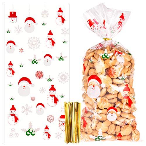 100 Pezzi Sacchetti per Biscotti Caramelle di Natale, Sacchetti Trasparenti Richiudibili con Legami di Torsione per Bambini Regali Decorazioni di Natalizi