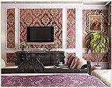 Wallpaper Papel Pintado Rojo de Damasco para la decoración de TV Telón de Fondo y Dormitorio Hotel 0.53x10m