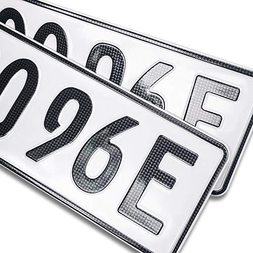 schildEVO 2 Carbon Kfz E-Kennzeichen | OFFIZIELL amtliche Nummernschilder | Elektroauto & Hybrid Auto | Autokennzeichen Elektro
