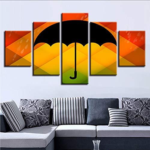 hllhpc modulaire kunstdruk in HD 5 stuks zwart paraplu met achtergrondkleur werk canvas schilderij woonkamer decoratie