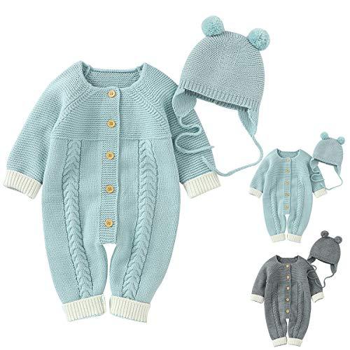 2 Stück Baby Strick Strampler mit Hut Neugeborene Mädchen Jungen Onesies Warm Sweater Jumpsuit Outfits Bodysuit Schneeanzug Winter Overalls Mäntel Kleidung Gr. 68, aqua blue