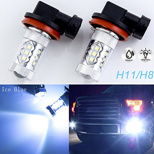 Xotic Tech Pair 80W High Power 8000K Ice Blue H8 H11 H9 LED Headlamp Driving Fog Light Bulbs Compatible with Infiniti M35 M45 G37 QX60 or Cadillac CTS or Ford Edge or Honda Accord Civic