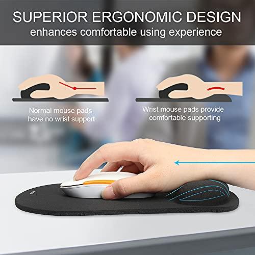 Mauspad mit Gelkissen | TECKNET Wasserdicht Ergonomisches Komfort Mousepad Office Mat Gel mit Handgelenkauflage für Computer und Laptop - 2