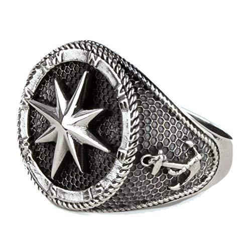Ring Kompass Nautischer Stern und Anker 925 Sterling Silber (59 (18.8))