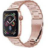 PUGO TOP Bands Compatible with apple watch 42mm 44mm Series 5 4 Stainless Steel Metal Iwatch Iphone Watch Link Bracelet Bands. (42mm/44mm, Rose Gold)