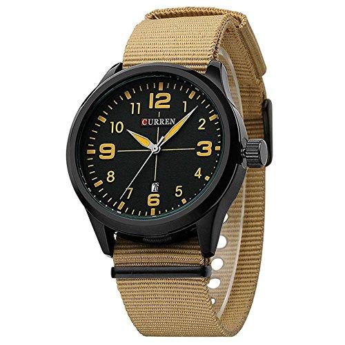 CURREN Uhren Männer Military Nylonband Uhr Luxuxarmbanduhren mit Auto Date Sportuhren Brown