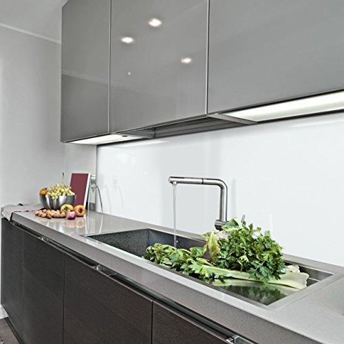 KERABAD Küchenrückwand Küchenspiegel Wandverkleidung Fliesenverkleidung Fliesenspiegel aus Aluverbund Küche Weiß Glanz/matt 60x100cm