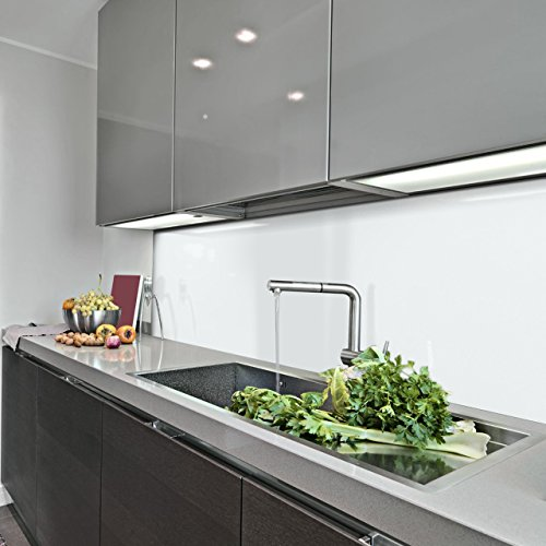 KERABAD Küchenrückwand Küchenspiegel Wandverkleidung Fliesenverkleidung Fliesenspiegel aus Aluverbund Küche Weiß Glanz/matt 50x300cm