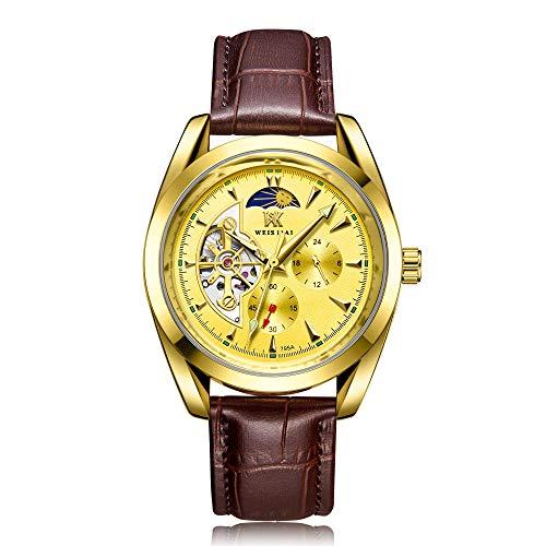 Relojes para Hombre Relojes de Pulsera esqueléticos mecánicos automáticos Relojes de Cuero Bobinado automático -D