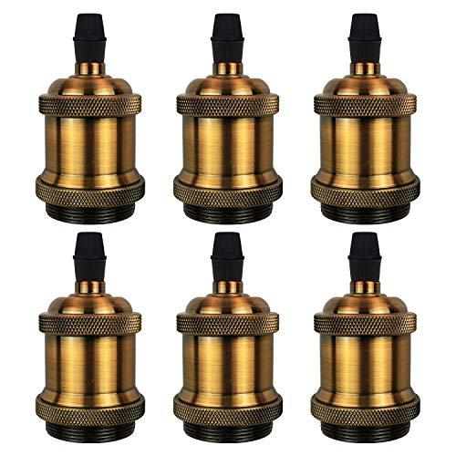 DiCUNO E27 Vintage Solid Lampenfassung Keramik Lampe Halter Edison Schraube Glühbirne Buchse Adapter, 6 Pack