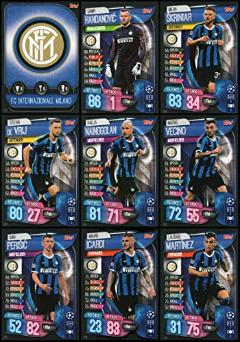 Match Attax 2019//20 conjunto completo de equipo FC Internazionale Milano 9 Tarjetas