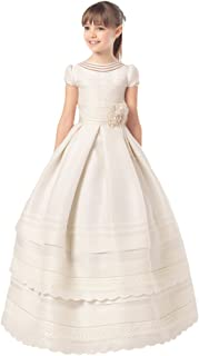 Girls Scoop Short Sleeves First Communion Dresses with Bow Flower Girl Dress White