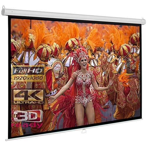 RolloLux Économie Écran de Projection Manuel 244 x 244 cm - Format 1:1/4: / 16:9 / Full-HD / 3D / 4K / 8K / Home Cinema/Facteur de Gain 1,2 / pour Mur ou Plafond