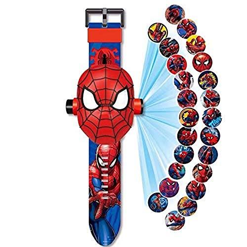 Orologio da Polso con proiettore Digitale, Orologio Giocattolo per Bambini, Orologio da 24 Cartoni Animati con Motivo a Immagini, per Regali per Bambini/Ragazzi (Spiderman)