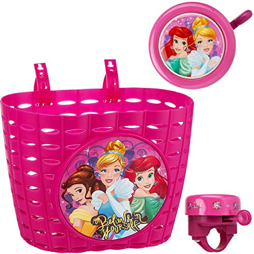 alles-meine.de GmbH 2 TLG. Set: Fahrradkorb / Korb + Fahrradklingel - Disney Princess - Prinzessin - mit Befestigung für Lenker vorn - Fahrrad Prinzessinnen - rosa - universal au..