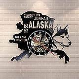 Fnito led Vinilo Reloj Pared The Last Frontier Decor Cityscape Vinyl Record Clock North To The Future Juneau Modern Vintage Gift Decoración para Perros