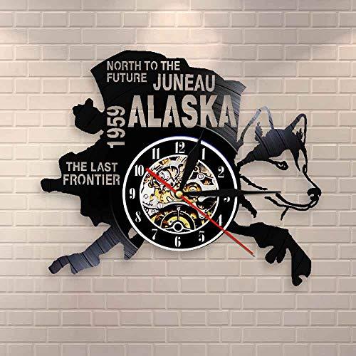Regalos para Hombres The Last Frontier Alaska Decor USA Cityscape Vinyl Record Clock North To The Future Juneau Modern Vintage Gift Alaska Dog Decor Dormitorio Accesorios