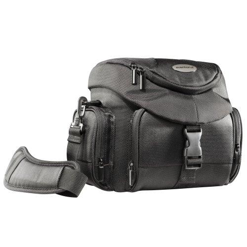 Mantona Premium Biker - Funda de cámara réflex para Bicicleta (asa y Cinta para Hombro, Funda Impermeable y Bolsillo para Accesorios), Color Negro