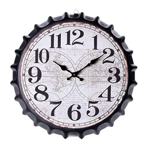 XXNZZJ Co.,ltd Reloj de Pared Hot-Vintage Retro Metal Gran tamaño de Gran tamaño 3D Tapa de Botella Reloj de Pared Silencioso Movimiento de Cuarzo Relojes para la decoración de la Oficina en casa
