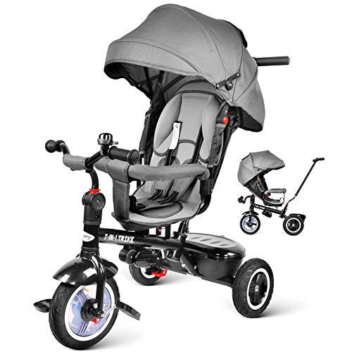 Besrey Triciclo con Pedales para bebés 7 en 1 triciclos con Asiento Giratorio Gris