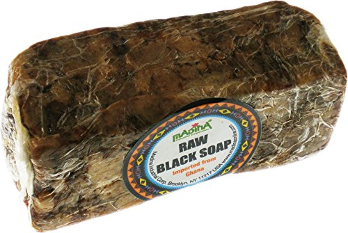 African Black Soap - Raw Best for Acne Treatment, Eczema, Dry Skin, Psoriasis, Scar Removal, Dandruff, Pimples Mark Removal, Anti-fungal Face & Body Wash (8 ounce)