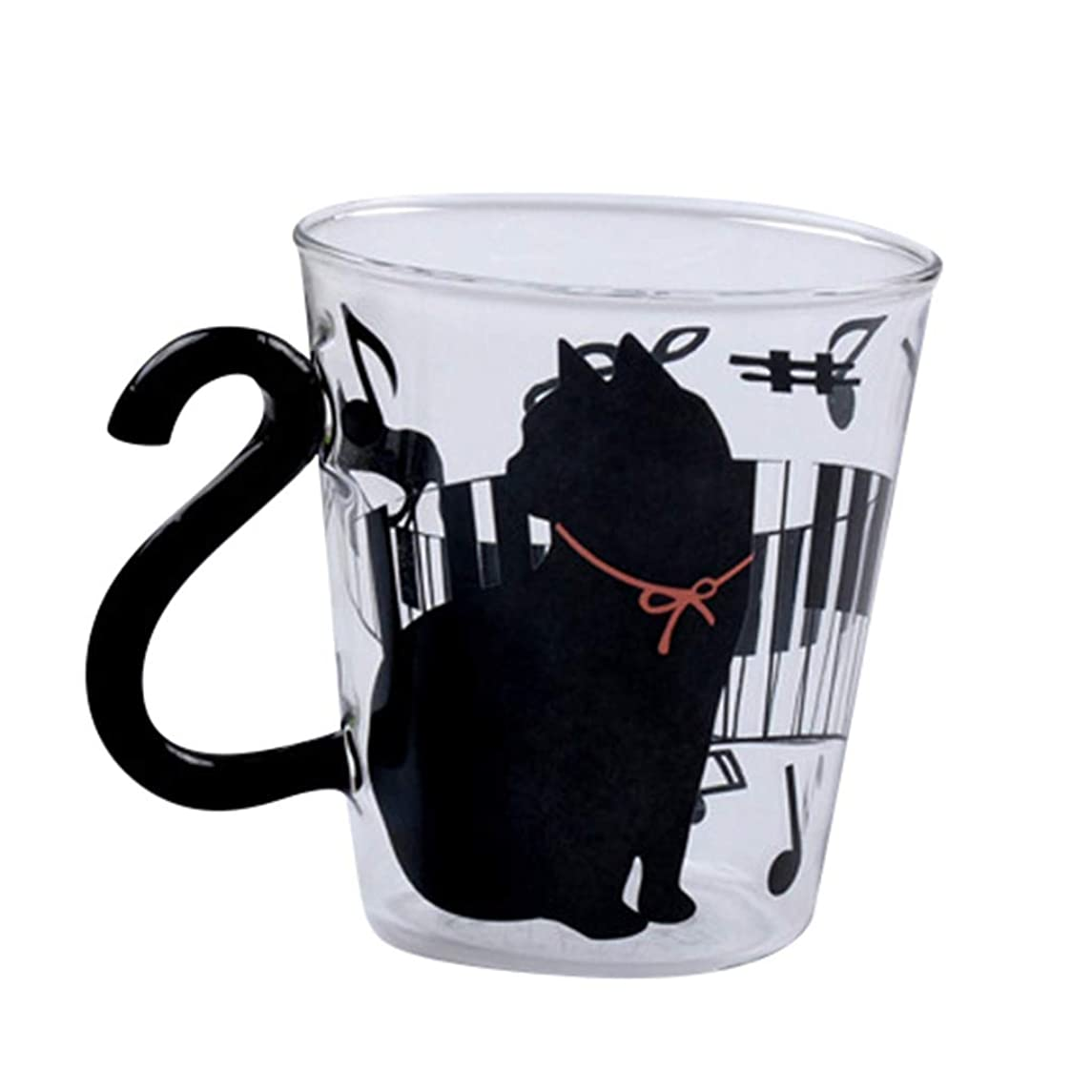 Pangxiannv Cartoon Glass Mug English Word Cat Kitten Tea Milk Coffee Cup with Handle 300 ML Bottle Glass Water Bottle Smart Water Bottle Water Brands Water Hydro Flask