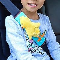 ユニバーサルカーシートベルトのパッドカバー、2パックコンフォートハーネスパッドシートベルトカバーカバーカー幼児用の子供用のショルダーストラッププロテクター-h002は覗きking - 黄色いアヒル