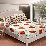 Set di lenzuola per letto con motivo frutta tropicale, set di lenzuola per bambini e ragazze e ragazze fresche rosse fragole, semplice e carino con 2 federe, 3 pezzi, biancheria da letto king size