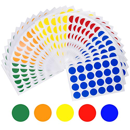 HQdeal 2 cm Coloured Dot Stickers, Self Adhesive Round Coding Stickers Labels, Circle Reward Craft Stickers for Paper Scrapbook, 6 Colours, Pack of 720