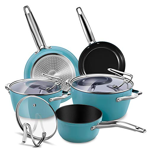 CUSIBOX Cookware Set Ceramic Nonstick Pan & Pot Set 8 Piece, Stock Pot, Frying Pan, Saucepan, Casserole, Saute Pan Glass Lid | Induction |