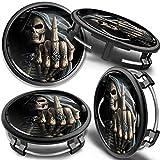 SkinoEu 4 x 75mm Tapas de Rueda de Centro Centrales Llantas Aluminio Compatibles con Tapacubos Mercedes Benz B66470207 / B66470200 Negro Cráneo Dedo Medio CM 25