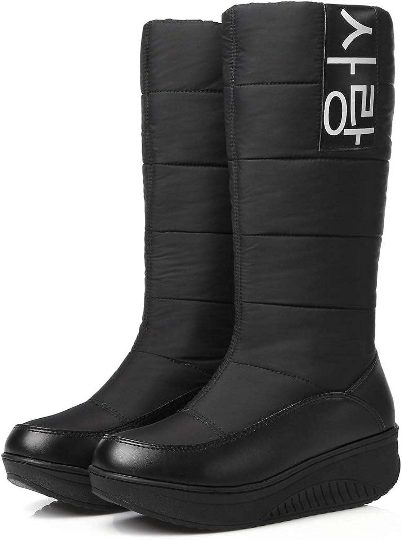 DANDANJIE Winter Schnee Stiefel für Damen Wasserdichte warme gefütterte Keilabsatz Mitte der Wade Slip On Stiefel (Schwarz Weiß,schwarz,42EU