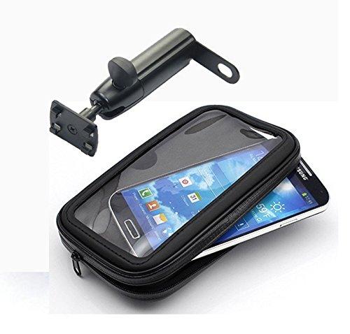 iBroz® - Soporte Moto universal, Escúter (Scooter) etc... o Biclicleta en retrovisor o fijación manillar con Varilla Rígida (rotación 360°) y Funda hermética para iPhone 5, iPhone 6, SAMSUNG G