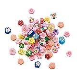 Beadthoven - 200 cabujones de arcilla polimérica hechos a mano con temática de flores mixtas, cabujones suaves sin agujero para hacer joyas y decoraciones del hogar