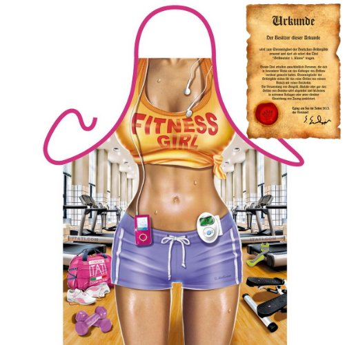Sexy Koch und Grillschürze für Sportliche! Fitness Girl Inklusive Grillurkunde!