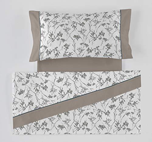 ES-Tela - Juego de sábanas Estampadas Paola Color Gris (3 Piezas) - Cama de 135/140 cm. - 50% Algodón/50% Poliéster - 144 Hilos