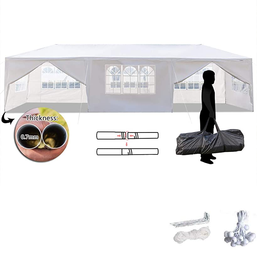 VINGLI 10'x30' Outdoor Canopy Tent,w/ 8 Removable Sidewalls,Upgraded Sprial Tube Waterproof,Sunshade Shelter Shed,Party Wedding Event Gazebo Pavilion Patio Catering Backyard,Bouns w/Carry Bag