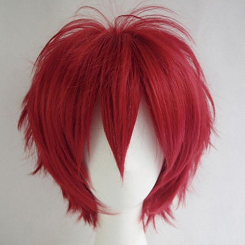 S-noilite Women Mens Short Anime Cosplay Wigs Fluffy Straight Party Costume Synthetic Hair Full Wig for Unisex Wine Red