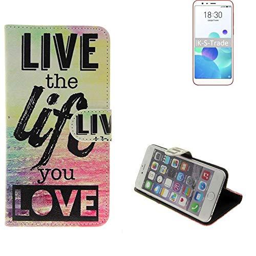 K-S-Trade® 360° Funda Smartphone para Meizu M8c, Live The Life You Love' | Wallet Case Flip Cover Caja Bolsa Caso Monedero BookStyle