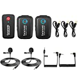 2.4GHz Wireless Lavalier Microphone System, Saramonic Blink500 B2 Dual-Channel Mic Two Transmitters for DSLR Camera, Mirrorless, and Smartphone for YouTube Facebook Live Vlogging