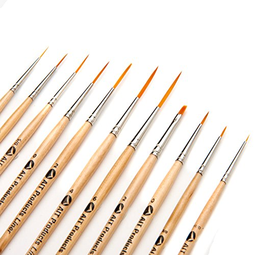 AIT Art Fine Detail Paint Brush Set - 11 Paint Brushes - Liner, Round, Flat - Handmade in USA for Trusted Performance with Oil, Acrylic, and Watercolor
