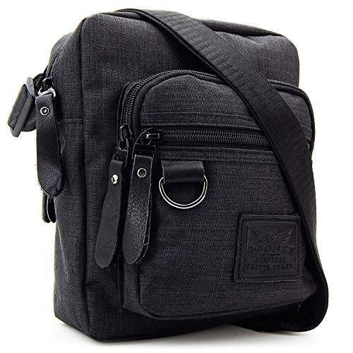 ekavale - Herren Schultertasche klein – Handy Umhängetasche für Männer – Messenger Crossbody Bag – Unisex Tasche für Tablet (Schwarz)