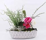 AAF Nommel ®, Pflanzschale 03 Blumentopf Pflanztopf oval grau weis Blätter Haptik, Länge 30 cm,...