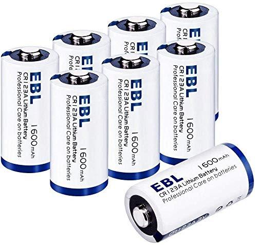 EBL 8 Pcs CR123A Batterie High Power Lithium 3V, CR123 / CR123A / CR17345 da 1600mAh Adatta per