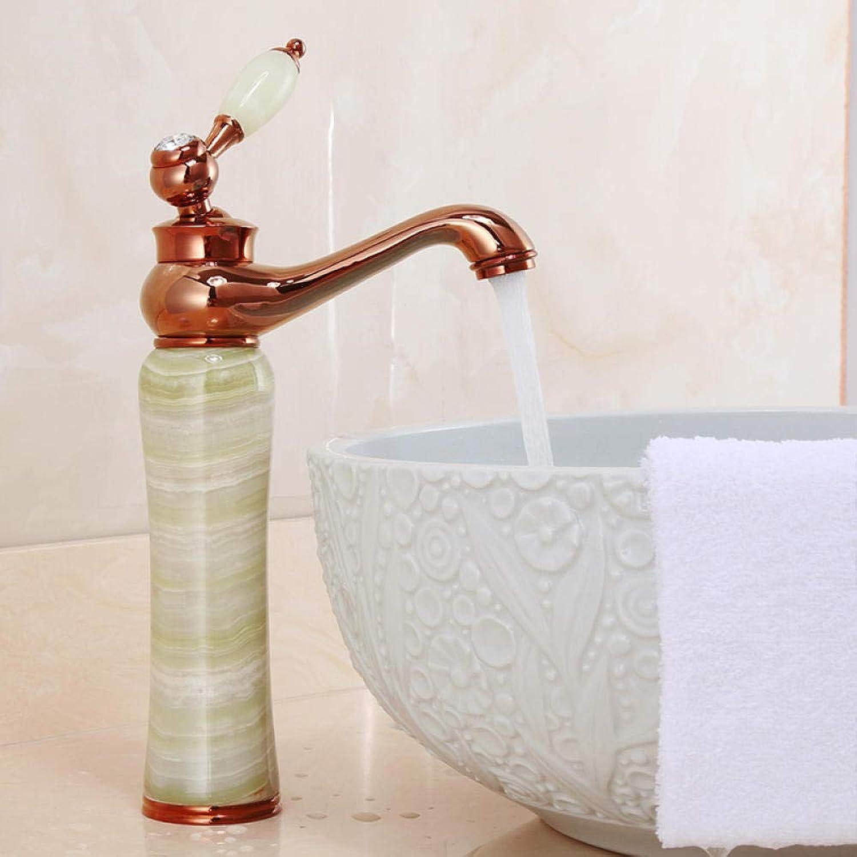 CZOOR Europischen stil kupfer antiken wasserhahn waschbecken hei und kalt roséGold badezimmerschrank Gold jade wasserhahn einlochmontage c442