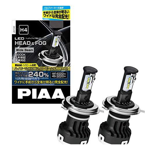 PIAA ヘッドライト・フォグランプ用 LEDバルブ 6000K Wide Beam Hi 4000lm/Lo 3200lm※ H4 12V 20/20W 車検...