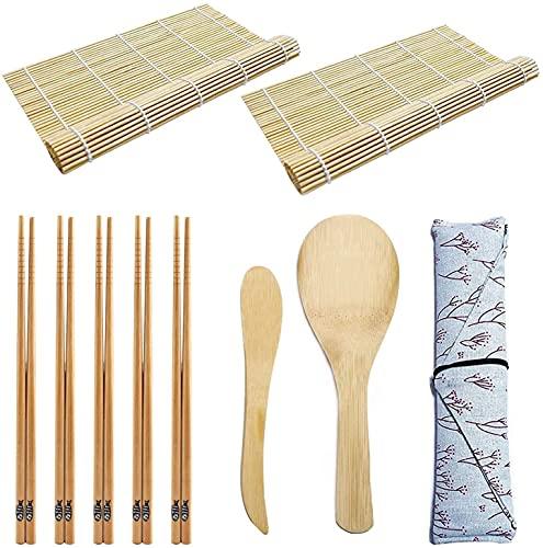 TUT Sushi Kit Completo 10 Pezzi Set per Fare Sushi di bambù, Professionale Set Preparazione Sushi, con 2 Stuoia Sushi, Set Sushi Fai da Te