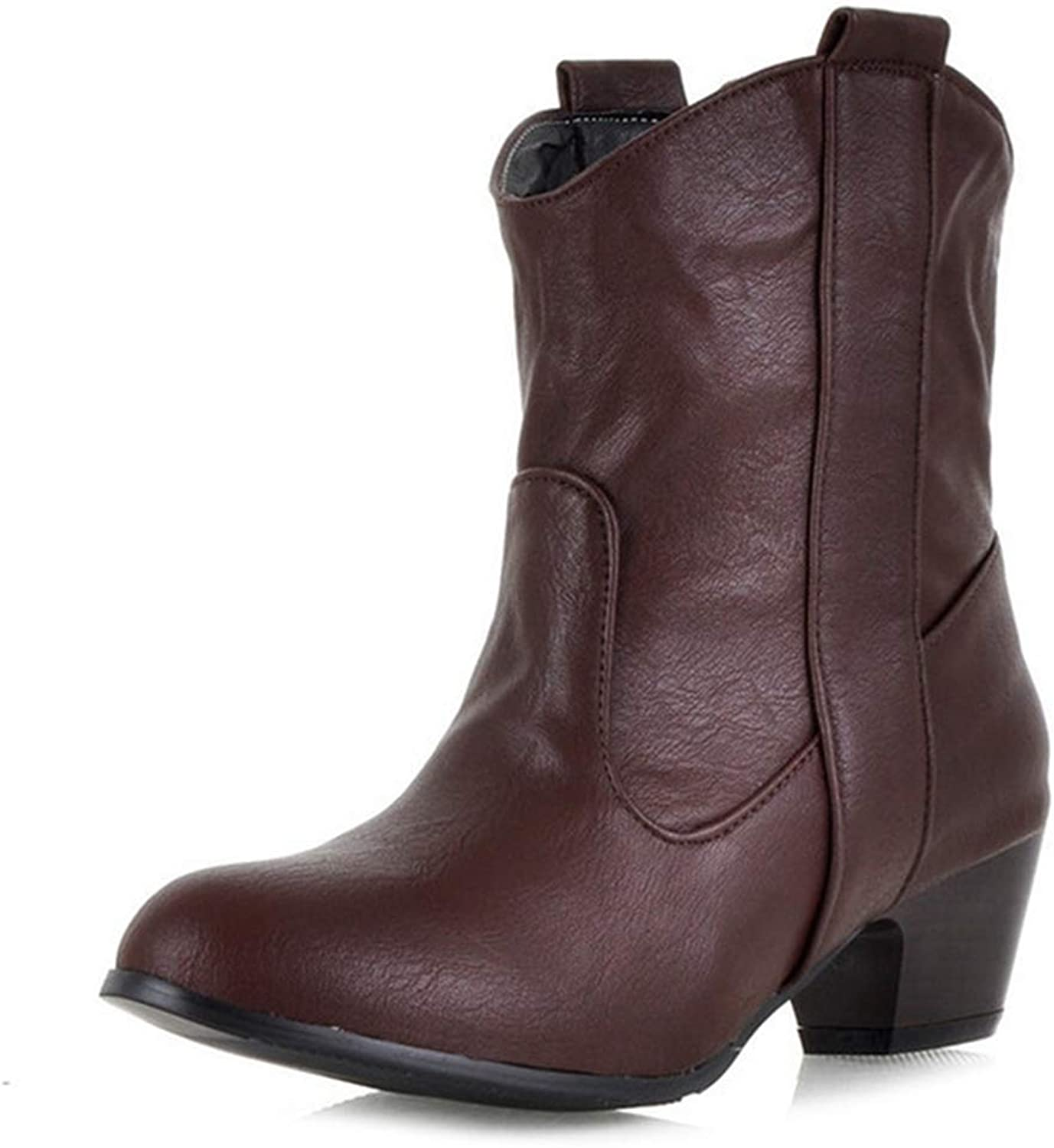 Womens Cowboy Western Ankle Boots Round Toe Slip-On Chelsea Booties Stacked Mid Heel Martin Short Boot